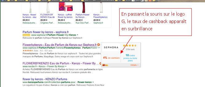 etape 3 recherche google igraal taux cashback
