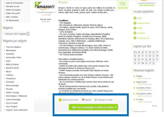 etape 3 flouzy amazon cashback