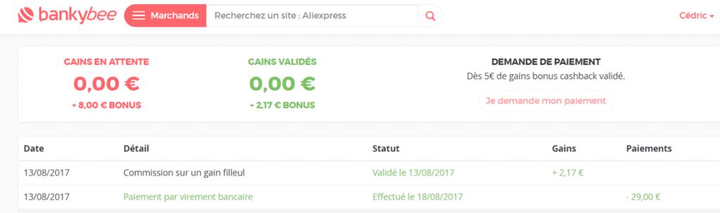 Détail de mes gains sur le site de cashback Bankybee
