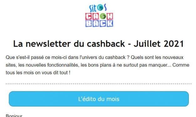 Notre newsletter est lancée : une fois par mois les bons plans et actu du cashback